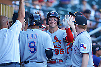 Surprise Saguaros catcher Andrew Knizner (96), of the St. Louis Cardinals organization, is congratulated by teammates after hitting his first home run of the game against the Mesa Solar Sox on October 20, 2017 at Sloan Park in Mesa, Arizona. The Solar Sox walked-off the Saguaros 7-6.  (Zachary Lucy/Four Seam Images)