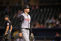 Arkansas Travelers pitcher Wyatt Mills (41) walks back to the dugout during a Texas League game between the Northwest Arkansas Naturals and the Arkansas Travelers on May 30, 2019 at Arvest Ballpark in Springdale, Arkansas. (Jason Ivester/Four Seam Images)