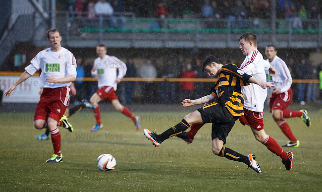 Kevin Cawley scores the first goal for Alloa