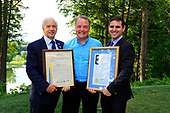 Westchester County Legislator Francis Corcoran ( left) and Matthew Slater (right) Chief of Staff for New York Senator Terrence Murhpy, present Legislative and Senate Proclamations to Lord Iveagh ( centre )Golf Guinness and Oyster Gathering, GlenArbor, Westchester, NY 27th June 2017. Photographer - Stuart Adams www.golftourimages.com: 27/06/2017
