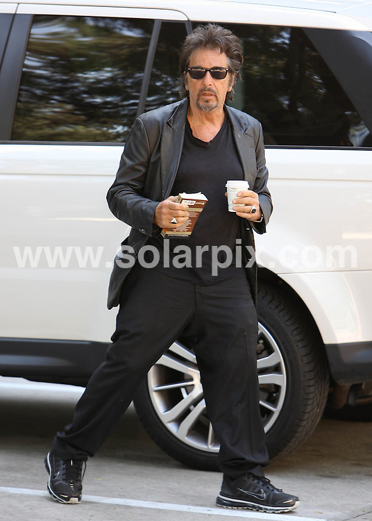 **ALL ROUND PICTURES FROM SOLARPIX.COM**.**SYNDICATION RIGHTS FOR UK AND SPAIN ONLY**.Ever the actor's actor Al Pacino starts the morning off with some coffee and a little Shakespeare. The man in black was carrying around his Shakespeare paperback today. Los Angeles, California, USA. 17 August 2010.This pic: Al Pacino..JOB REF: 11932 STL        DATE: 17_08_2010.**MUST CREDIT SOLARPIX.COM OR DOUBLE FEE WILL BE CHARGED**.**MUST NOTIFY SOLARPIX OF ONLINE USAGE**.**CALL US ON: +34 952 811 768 or LOW RATE FROM UK 0844 617 7637**