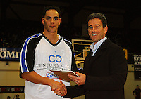 Troy McLean recieves an award from NZ Basketball CEO Dale Stephens for his 200th game during the NBL Semifinal basketball match between the Wellington Saints and Nelson Giants at TSB Bank Arena, Wellington, New Zealand on Thursday, 12 June 2008. Photo: Dave Lintott / lintottphoto.co.nz