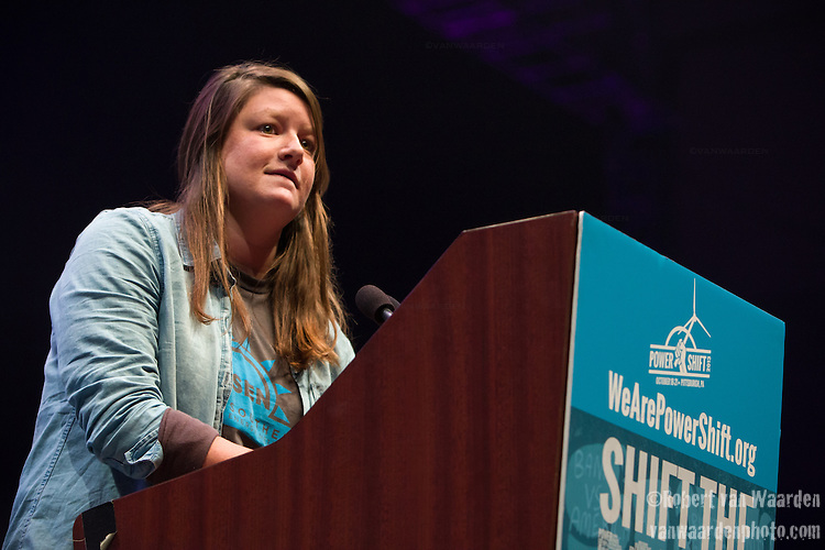 Kristen Collins from Knoxville Tennessee fighting frackin well on her campus, the University of Tennessee speaks at Powershift.  Over six thousand young people from all over the country are converging in Pittsburgh, PA for Power Shift 2013, a massive training dedicated to bringing about a safe planet and a just future for all people. (Photo by: Robert van Waarden)