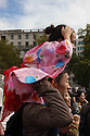 Father and daughter enjoy the 10th Japanese Matsuri Festival, Trafalgar Square, London.