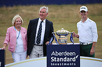 With the Gullane Golf Club representatives, Brandon Stone (RSA) wins the Final Round of the ASI Scottish Open 2018, at Gullane, East Lothian, Scotland.  15/07/2018. Picture: David Lloyd | Golffile.<br /> <br /> Images must display mandatory copyright credit - (Copyright: David Lloyd | Golffile).