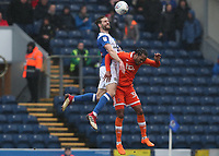 Blackburn Rovers' Charlie Mulgrew and Blackpool's Nathan Delfouneso<br /> <br /> Photographer Rachel Holborn/CameraSport<br /> <br /> The EFL Sky Bet League One - Blackburn Rovers v Blackpool - Saturday 10th March 2018 - Ewood Park - Blackburn<br /> <br /> World Copyright &copy; 2018 CameraSport. All rights reserved. 43 Linden Ave. Countesthorpe. Leicester. England. LE8 5PG - Tel: +44 (0) 116 277 4147 - admin@camerasport.com - www.camerasport.com