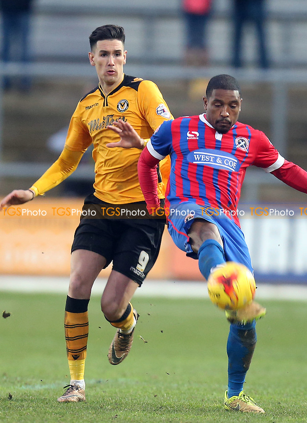 Conor Wilkinson of Newport County and Andre Boucaud of Dagenham and Redbridge during Newport County vs Dagenham and Redbridge, Sky Bet League 2 Football at Rodney Parade, Newport, Wales on 23/01/2016