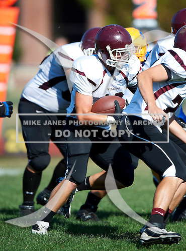 Orchard Park Quakers varsity football against the Lockport Lions during a Section VI regular season game at Emmet Belknap Intermediate School on September 1, 2012 in Lockport, New York. Orchard Park defeated Lockport 42-21. (Copyright Mike Janes Photography)