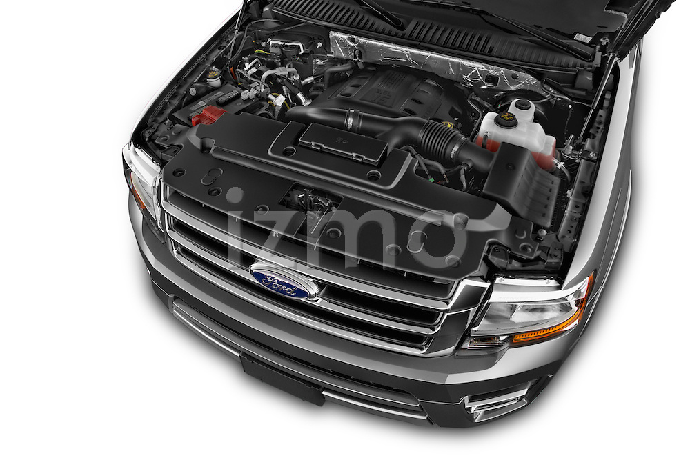 Car Stock 2015 Ford Expedition XLT 5 Door SUV Engine high angle detail view