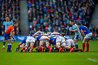 8th March 2020; Murrayfield Stadium, Edinburgh, Scotland; International Six Nations Rugby, Scotland versus France; George Horne of Scotland put into a scrum