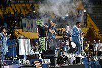 BOGOTÁ - COLOMBIA, 11-01-2019: El grupo Chocquibtown, grupo colombiano es el encargado del espectáculo de inauguración del Torneo Fox Sports 2019, jugado en el estadio Nemesio Camacho El Campin de la ciudad de Bogotá. /  The group Chocquibtown, Colombian group is in charge of the opening show of the Fox Sports 2019 Tournament, played at the Nemesio Camacho El Campin stadium in the city of Bogotá. / Photo: VizzorImage / Luis Ramírez / Staff.