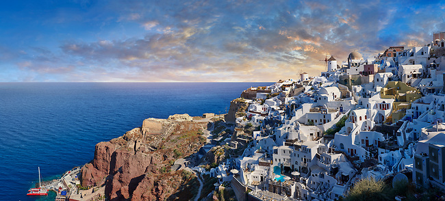 Sunset over Oia (ia), Cyclades Island of  Thira, Santorini, Greece.<br /> <br /> The settlement of Oia had been mentioned in various travel reports before the beginning of Venetian rule, when Marco Sanudo founded the Duchy of Naxos in 1207 and feudal rule was instituted on Santorini. n 1537, Hayreddin Barbarossa conquered the Aegean islands and placed them under Sultan Selim II. However, Santorini remained under the Crispo family until 1566, passing then to Joseph Nasi and after his death in 1579 to the Ottoman Empire.