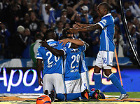 BOGOTA - COLOMBIA - 11 - 03 - 2017: Los jugadores de Millonarios, celebran el gol anotado America, durante partido de la fecha 9 entre Millonarios y America de Cali, por la Liga Aguila I-2017, jugado en el estadio Nemesio Camacho El Campin de la ciudad de Bogota. / The players of Millonarios celebrate the scored goal to America, during a match between Millonarios and America de Cali, of the date 9 for the Liga Aguila I-2017 played at the Nemesio Camacho El Campin Stadium in Bogota city, Photo: VizzorImage / Luis Ramirez / Staff.