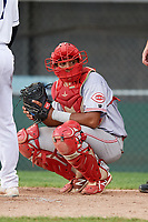 Greeneville Reds catcher Jose Tello (41) looks into the dugout during the second game of a doubleheader against the Princeton Rays on July 25, 2018 at Hunnicutt Field in Princeton, West Virginia.  Greeneville defeated Princeton 8-7.  (Mike Janes/Four Seam Images)
