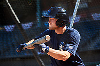 Mobile BayBears center fielder Brennon Lund (8) squares around to bunt during batting practice before a game against the Jacksonville Jumbo Shrimp on April 14, 2018 at Baseball Grounds of Jacksonville in Jacksonville, Florida.  Mobile defeated Jacksonville 13-3.  (Mike Janes/Four Seam Images)