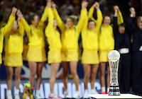 16.08.2015 Autrslia celebrate winning the gold medal after the Silver Ferns v Australia Gold Medal netball match at the 2015 Netball World Cup at All Phones Arena in Sydney Australia. Mandatory Photo Credit ©Michael Bradley.