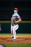 Florida Fire Frogs relief pitcher Chad Sobotka (32) delivers a pitch during a game against the St. Lucie Mets on April 19, 2018 at Osceola County Stadium in Kissimmee, Florida.  St. Lucie defeated Florida 3-2.  (Mike Janes/Four Seam Images)