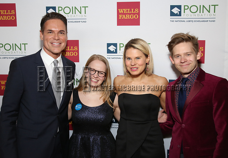 Jorge Valencia, Maggie Keenan-Bolger, Celia Keenan-Bolger and Andrew Keenan-Bolger attends the Point Foundation hosts Annual Point Honors New York Gala Celebrating The Accomplishments Of LGBTQ Students at The Plaza Hotel on April 9, 2018 in New York City.