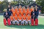 BLOEMENDAAL - Teamfoto: voor vlnr keeper Maurits Visser (Bldaal) , Florian Fuchs (Bldaal) , Roel Bovendeert (Bldaal) , Glenn Schuurman (Bldaal) , Arthur van Doren (Bldaal) , Thierry Brinkman (Bldaal) , Dirk Jan Glas (Bldaal).<br /> midden: looptrainer Cees Koppelaar, coach Michel van den Heuvel (Bldaal) , Floris Wortelboer (Bldaal) , Sander 't Hart (Bldaal) , Mats de Groot (Bldaal), Jorrit Croon (Bldaal), Tim Swaen (Bldaal) , manager Feiko Keilholz (Bldaal) , fysio Rens Teeuwen (Bldaal).<br /> achter: assistent coach Damien van der Peet, Kiet Citroen,  Yannick van der Drift (Bldaal) , Oliver Polkamp, Martijn van Grimbergen, Caspar van Dijk, Jasper Brinkman (Bldaal) , video Remco van der Weijden. Heren I van HC Bloemendaal , seizoen 2019/2020.   COPYRIGHT KOEN SUYK