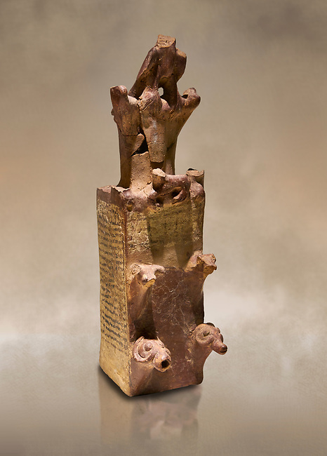 Hittite terra cotta tower shaped vessel representing a two storey tower of the city walls complete with merlons - 14th century BC - Hattusa ( Bogazkoy ) - Museum of Anatolian Civilisations, Ankara, Turkey