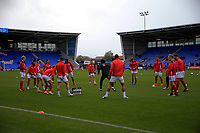 Fleetwood Town warming up prior to kick off during the Sky Bet League 1 match between Shrewsbury Town and Fleetwood Town at Greenhous Meadow, Shrewsbury, England on 21 October 2017. Photo by Leila Coker / PRiME Media Images.