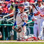 23 August 2018: Philadelphia Phillies catcher Jorge Alfaro glances back to the dugout during a game against the Washington Nationals at Nationals Park in Washington, DC. The Phillies shut out the Nationals 2-0 to take the 3rd game of their 3-game mid-week divisional series. Mandatory Credit: Ed Wolfstein Photo *** RAW (NEF) Image File Available ***