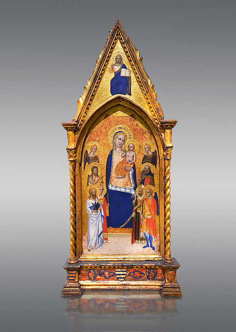 Gothic altarpiece of Madonna and Child by Niccolo di Tommaso, circa 1362-1367, tempera and gold leaf on wood.  National Museum of Catalan Art, Barcelona, Spain, inv no: MNAC  212809.