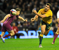 Twickenham, England. Nick Phipps of Australia in action during the QBE international match between England and Australia for the Cook Cup at Twickenham Stadium on November 10, 2012 in Twickenham, England