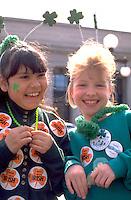 Friends age 8 dressed up for St Patricks day celebration.  St Paul  Minnesota USA