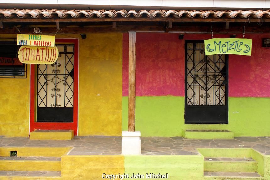 Colourful Spanish colonial buildiings in the village of Ataco in western El Salvador
