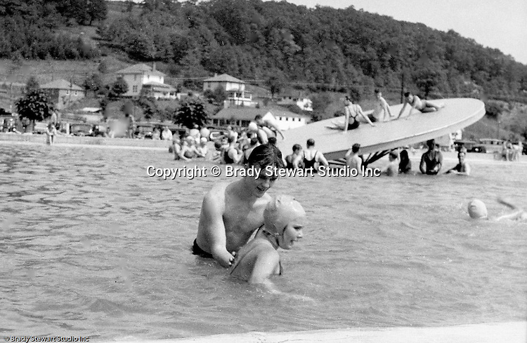 East McKeesport PA:  The Stewarts swimming at the Blue Dell Swimming Pool - 1933.  New slide added to the pool that year.