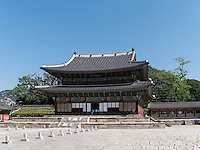 Thronhalle Injeongjeon im Changdeokgung Palast, Seoul, Südkorea, Asien, UNESCO-Weltkulturerbe<br /> throne hall Injeongjeon in palace Changdeokgung,  Seoul, South Korea, Asia UNESCO world-heritage