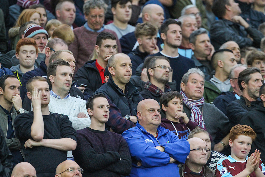 Burnley fans watch on during the second half<br /> <br /> Photographer Alex Dodd/CameraSport<br /> <br /> The Premier League - Manchester United v Burnley - Saturday 29th October 2016 - Old Trafford - Manchester<br /> <br /> World Copyright &copy; 2016 CameraSport. All rights reserved. 43 Linden Ave. Countesthorpe. Leicester. England. LE8 5PG - Tel: +44 (0) 116 277 4147 - admin@camerasport.com - www.camerasport.com