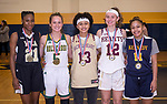 WATERBURY,  CT-021819JS27-  Members of the All-Brass Team, from left, Jonna Pierce-WCA; Allie Brown-Holy Cross; Mikayla Mobley-Sacred Heart; Hayley Tucker-Sacred Heart and Shyan Perez-Kennedy. <br /> Jim Shannon Republican American
