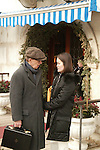 *** ECLUSIVE ***.Woody Allen with his wife Soon-Yi Previn leaving  the Gritti Hotel in Venice, Italy.December 16, 2004.© Walter McBride /