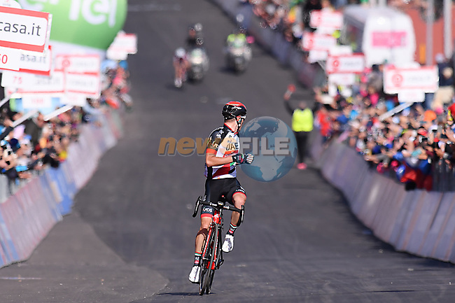 Jan Polanc (SLO) UAE Team Emirates approaches the finish line on the slopes of Mount Etna to win Stage 4 of the 100th edition of the Giro d'Italia 2017, running 181km from Cefalu to Mount Etna, Sicily, Italy. 9th May 2017.<br /> Picture: LaPresse/Gian Mattia D'Alberto | Cyclefile<br /> <br /> <br /> All photos usage must carry mandatory copyright credit (&copy; Cyclefile | LaPresse/Gian Mattia D'Alberto)