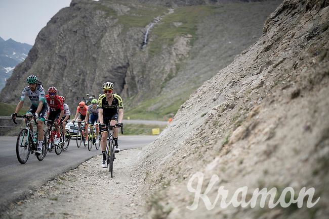 Luke Durbridge (AUS/Mitchelton-Scott) ending up in some gravel up the Col de l'Iseran (HC/2751m/13km@7.3%) <br /> > where the race was eventually stopped (at the top) because of landslides further up the road (after a severe hail storm in Tignes)<br /> <br /> Stage 19: Saint-Jean-de-Maurienne to Tignes(126km)<br /> 106th Tour de France 2019 (2.UWT)<br /> <br /> ©kramon