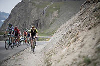 Luke Durbridge (AUS/Mitchelton-Scott) ending up in some gravel up the Col de l'Iseran (HC/2751m/13km@7.3%) <br /> > where the race was eventually stopped (at the top) because of landslides further up the road (after a severe hail storm in Tignes)<br /> <br /> Stage 19: Saint-Jean-de-Maurienne to Tignes (126km)<br /> 106th Tour de France 2019 (2.UWT)<br /> <br /> ©kramon