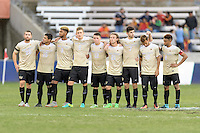 Houston, TX - Friday December 11, 2016: The Wake Forest Demon Deacons watching the overtime shootout against the Stanford Cardinal at the NCAA Men's Soccer Finals at BBVA Compass Stadium in Houston Texas.
