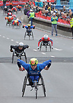London UK 28th April 2019 Virgin Money London Marathon The Mens wheelchair competitors  at the exit of Tower Bridge