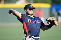 Catcher Shea Langeliers (4) of the Rome Braves warms up before a game against the Greenville Drive on Friday, June 28, 2019, at Fluor Field at the West End in Greenville, South Carolina. Rome won, 4-3. (Tom Priddy/Four Seam Images)