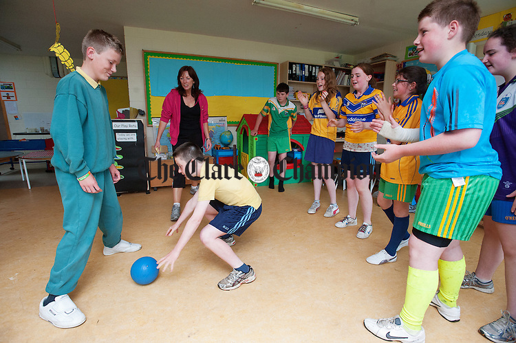 "Sixth class playing ""Snatch The Bacon"" during their Active Schools Week to celebrate St Flannan's  National School, Inagh's achievement in being the first primary school in Clare to attain the Active Schools Flag. Photograph by John Kelly."