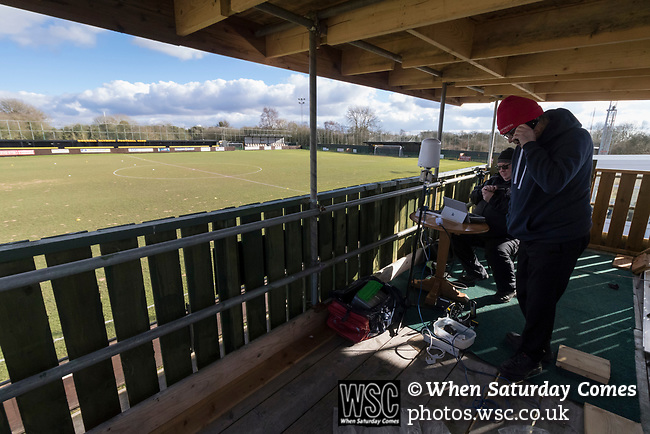 Rushall Olympic 1 Workingon 0, 17/02/2018. Dales Lane, Northern Premier League Premier Division. The team from BBC Radio Cumbria set up their equipment in the press box. Photo by Paul Thompson.