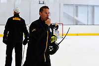 September 15, 2017: Boston Bruins head coach Bruce Cassidy blows the whistle during the Boston Bruins training camp held at Warrior Ice Arena in Brighton, Massachusetts. Eric Canha/CSM