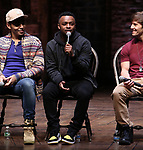 "Anthony Lee Medina, Jimmie ""JJ"" Jeter and Thayne Jasperson during the eduHAM Q & A before The Rockefeller Foundation and The Gilder Lehrman Institute of American History sponsored High School student #EduHam matinee performance of ""Hamilton"" at the Richard Rodgers Theatre on November 13, 2019 in New York City."