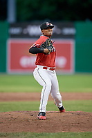 Batavia Muckdogs relief pitcher Manuel Rodriguez (47) delivers a pitch during a game against the West Virginia Black Bears on June 19, 2018 at Dwyer Stadium in Batavia, New York.  West Virginia defeated Batavia 7-6.  (Mike Janes/Four Seam Images)