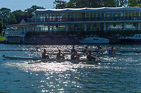 Henley on Thames, United Kingdom, 29th June 2018, Friday, &quot;Henley Royal Regatta&quot;, One crew catches another during the Qualifying races, 203   Christchurch Rowing Club move through, 202   Cardiff City Rowing Club 'B', <br /> [Time Trails] over the, Regatta Course, Henley Reach, River Thames, Thames Valley, England, &copy; Peter SPURRIER, 29/06/2018