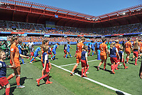 20190629 - VALENCIENNES , FRANCE : both teams entering the pitch pictured during the female soccer game between Italy  - Squadra Azzurrine - and The Netherlands  – Oranje Leeuwinnen - , a knock out game in the quarter finals of the FIFA Women's  World Championship in France 2019, Saturday 29 th June 2019 at the Stade du Hainaut Stadium in Valenciennes , France .  PHOTO SPORTPIX.BE | DIRK VUYLSTEKE