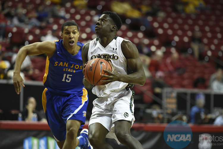 09 MAR 2016: San Jose State University takes on Colorado State University during the 2016 Mountain West Conference Men's Basketball Championship at the Thomas & Mack Center in Las Vegas, NV. Steve Nowland/NCAA Photos