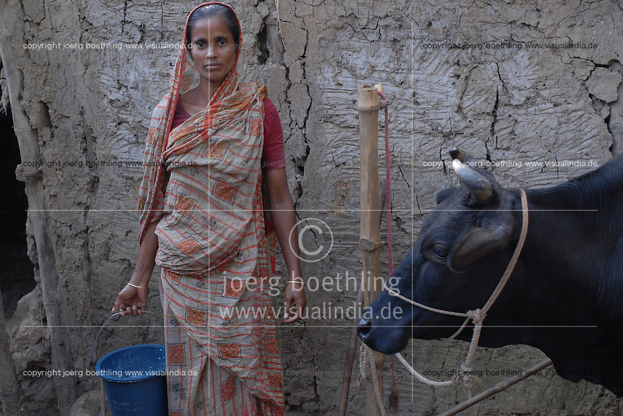 "Asien Suedasien Bangladesh Bogra , Kleinbauern wie Frau Mowne Begum erhalten Mikrokredite von Grameen Bank fuer Milchviehhaltung , die Milch kauft Firma Danone zur Produktion des Joghurt Shakti Doi , angereichert mit Vitamine und Mineralstoffen   -  Landwirtschaft Mikrofinanzierung Nahrungsmittel Milch Milchproduktion xagndaz | .South asia Bangladesh Bogra , project between Danone and Grameen bank , Danone produce yoghurt with vitamine from milk supplied by small farmer who received micro-credit from Grameen Shakti , retail shop in Bogra - microfinance agriculture nutrition food milk .| [ copyright (c) Joerg Boethling / agenda , Veroeffentlichung nur gegen Honorar und Belegexemplar an / publication only with royalties and copy to:  agenda PG   Rothestr. 66   Germany D-22765 Hamburg   ph. ++49 40 391 907 14   e-mail: boethling@agenda-fototext.de   www.agenda-fototext.de   Bank: Hamburger Sparkasse  BLZ 200 505 50  Kto. 1281 120 178   IBAN: DE96 2005 0550 1281 1201 78   BIC: ""HASPDEHH"" ,  WEITERE MOTIVE ZU DIESEM THEMA SIND VORHANDEN!! MORE PICTURES ON THIS SUBJECT AVAILABLE!! ] [#0,26,121#]"